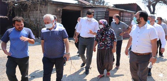 Başkan Özgan Saadet partili heyet ile yangın bölgesinde